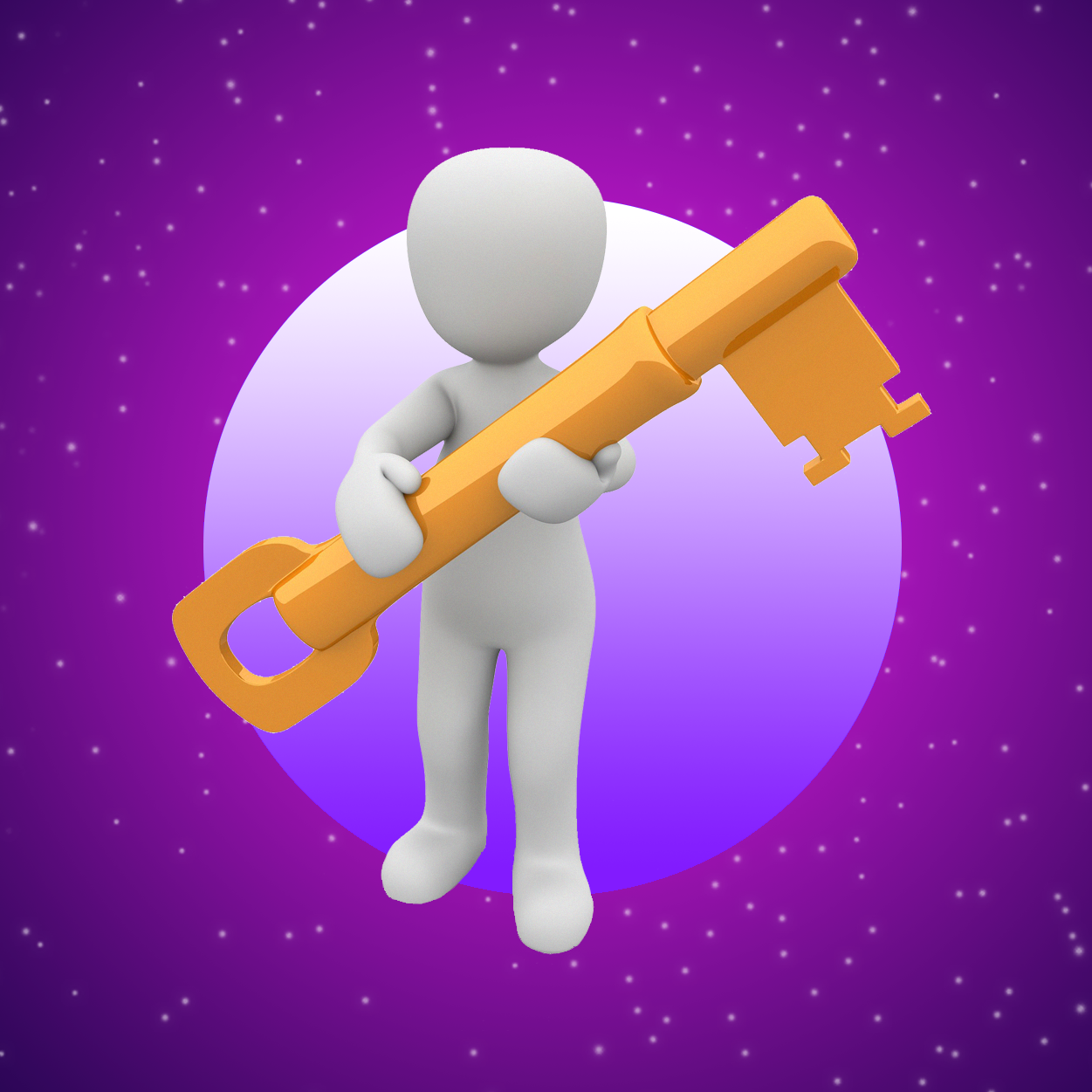 Cartoon human holding a key, on top of a background of a purple sky with stars.