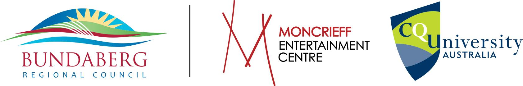 Bundaberg Regional Council, Moncrieff Entertainment Centre and Central Queensland University logo block