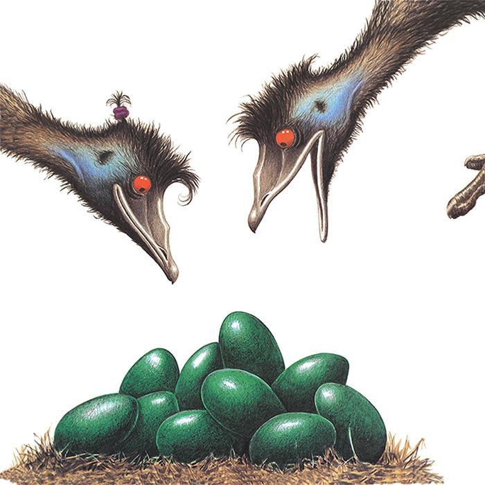 Image is a cartoon of two emu heads one open mouthed and one closed mouth looking down at a bundle of green eggs on a nest.