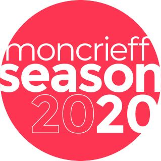 Image is a red spot with the words Moncrieff Season 2020 graphically designed in white.
