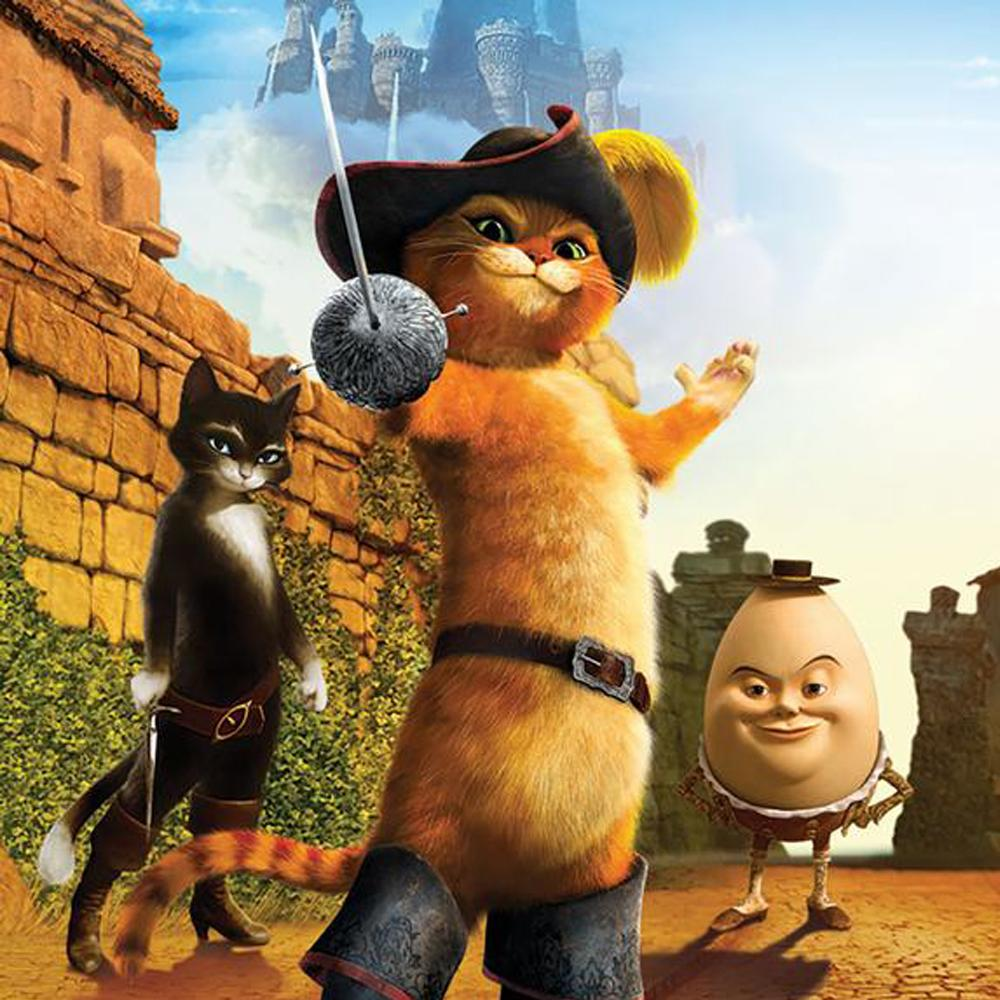 Image is of a castle with a hazy image of another castle in the sky, a black cat, a ginger cat, both upright, both carrying swords and wearing boots and belts and a smirking Humpty Dumpty.